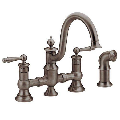 Waterhill 2-Handle High-Arc Side Sprayer Bridge Kitchen Faucet in Oil-Rubbed Bronze