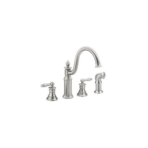 Waterhill 2-Handle High Arc Kitchen Bridge Faucet in Classic Stainless