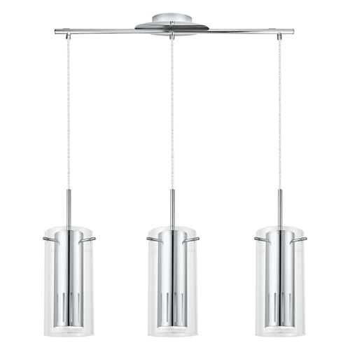 Pinto 1 suspension 3L chrome avec verre clair