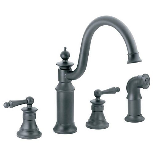 Waterhill 2-Handle Side Sprayer Kitchen Faucet in Wrought Iron