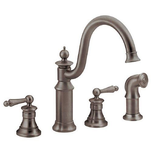 Waterhill High-Arc 2-Handle Standard Kitchen Faucet with Side Sprayer in Oil-Rubbed Bronze