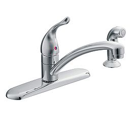 Chateau Single-Handle Standard Kitchen Faucet with Side Sprayer in Chrome