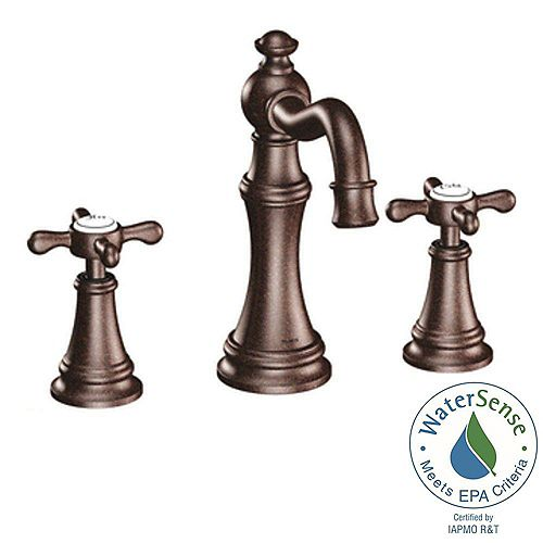 Weymouth 8-inch Widespread 2-Handle High-Arc Bathroom Faucet Trim Kit in Oil Rubbed Bronze (Valve Not Included)