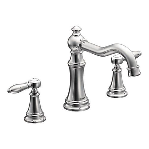 MOEN Weymouth 2-Handle Deck Mount Roman Tub Faucet Trim Kit with Hand Shower in Chrome (Valve Sold Separately)
