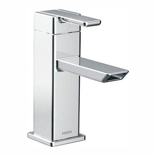 MOEN 90 Degree Single Hole Single-Handle Low-Arc Bathroom Faucet in Chrome