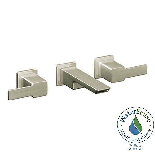 MOEN 90-Degree Wall Mount 2-Handle Low-Arc Lavatory Bathroom Faucet Trim Kit in Brushed Nickel (Valve Sold Separately)