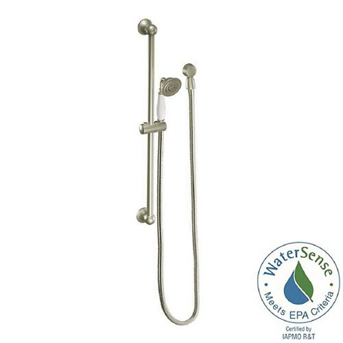MOEN Weymouth Eco-Performance 1-Spray 3-inch Handshower with Slide Bar in Brushed Nickel