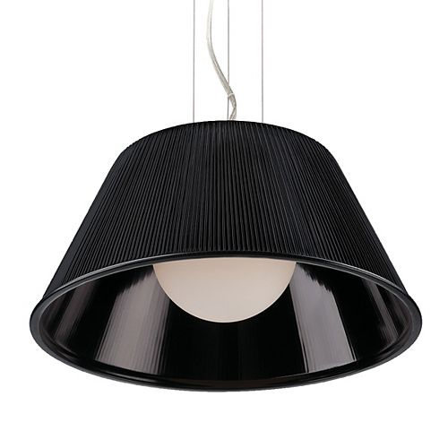 Eurofase Ribo Collection 1 Light Large Chrome & Black Pendant