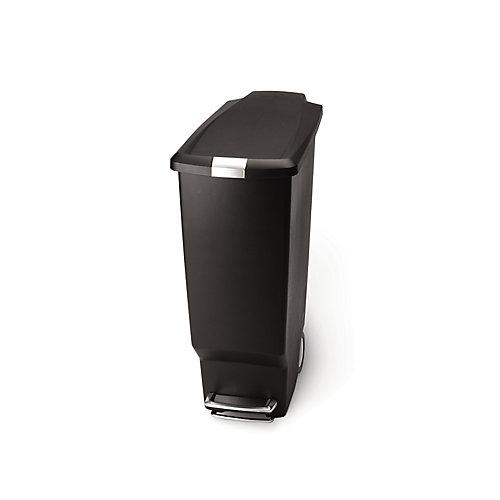 40 L Black Plastic Slim Step-On Trash Can