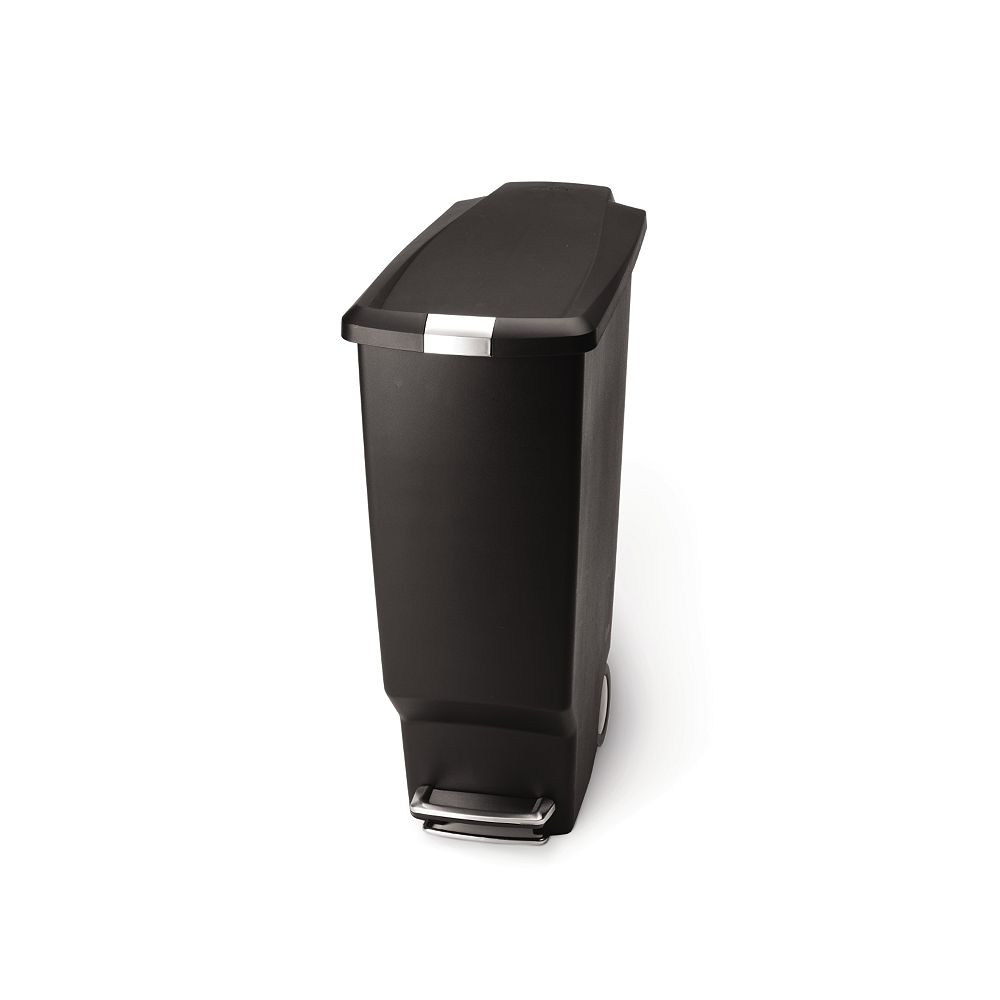 Simplehuman 40 L Black Plastic Slim Step-On Trash Can