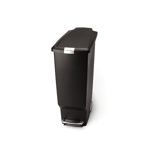 40 L Black Plastic Slim Step-On Trash Can