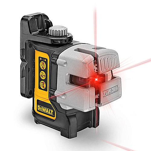 50 pi et 165 pi. Niveau laser croix laser rouge auto-nivelant à 3 faisceaux avec (4) piles AA et étui