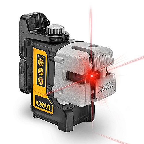 DEWALT 50 ft. & 165 ft. Red Self-Leveling 3-Beam Cross Line Laser Level with (4) AA Bateries & Case