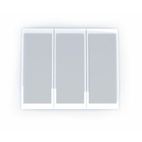 Carillon de porte câblé et sans fil au boîtier blanc contemporain avec panneaux à allure de toile