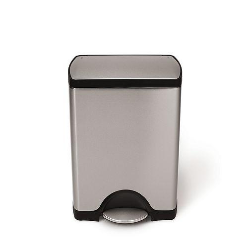 30-Liter Fingerprint-Proof Brushed Stainless Steel Rectangular Step-On Trash Can