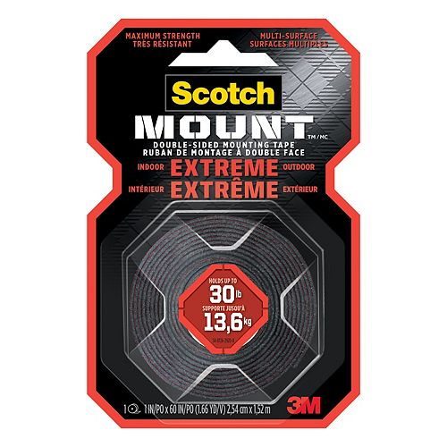 Scotch-Mount Extreme Double-Sided Mounting Tape 414H-DC-EF, Black, 1 in x 60 in (2.54 cm x 1.52 m), 1 Roll/Pack