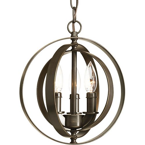 Suspension à 3 Lumières, Collection Equinox - fini Bronze à l'Ancienne