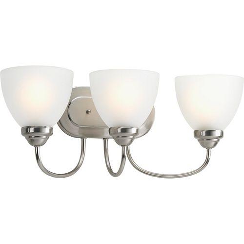 Progress Lighting Heart Collection 3-light Brushed Nickel Bath Light
