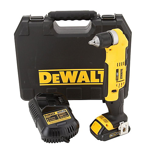 20V MAX Lithium-Ion Cordless Compact Right Angle Drill Kit with Battery 1.5Ah, Charger and Case