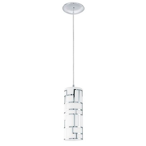 Bayman 1-Light Hanging Pendant Light Fixture in Chrome Finish with Opal Glass