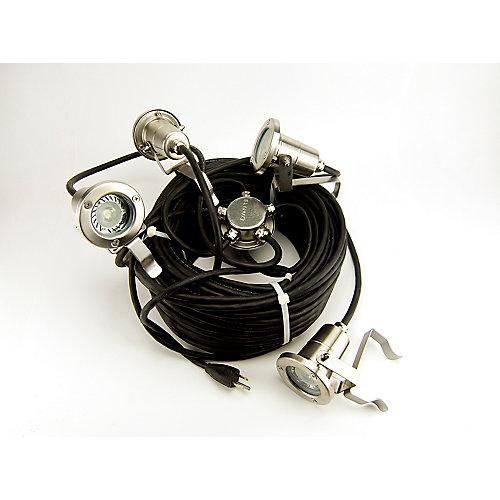 Ensemble 110v de 4 lumières del, câble déclairage de 175 pieds