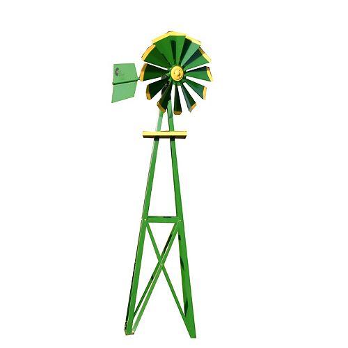 Green and Yellow Powder Coated Backyard Windmill - Small