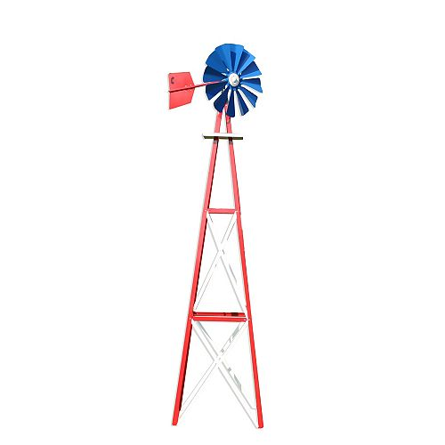 Red, White and Blue Powder Coated Backyard Windmill - Large