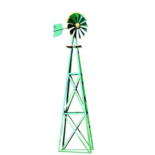 Green and Yellow Powder Coated Backyard Windmill - Large