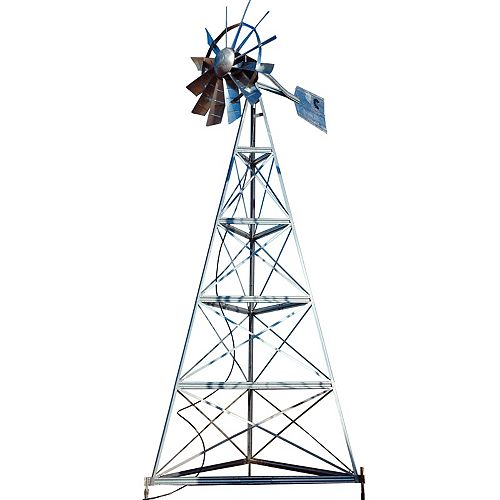 Outdoor Water Solutions Galvanized 3-Legged Windmill Aeration System - 20 Foot