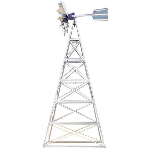 Outdoor Water Solutions Kit de système daération par éolienne galvanisée deluxe à 4 pattes – 24 pieds