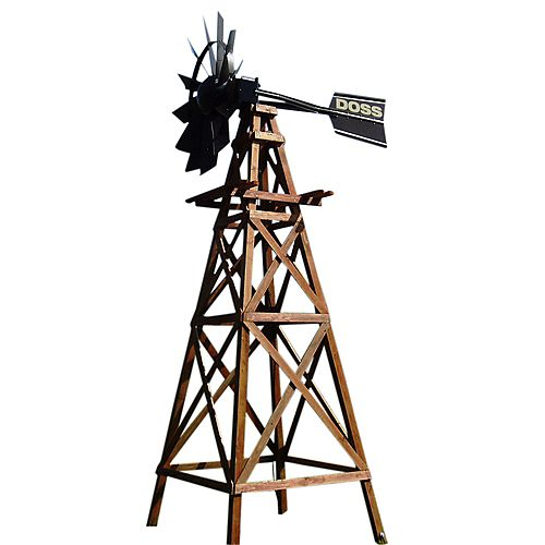 Wooden Deluxe 4 Legged Windmill Aeration System Kit with Powder Coated Head - 16 Foot