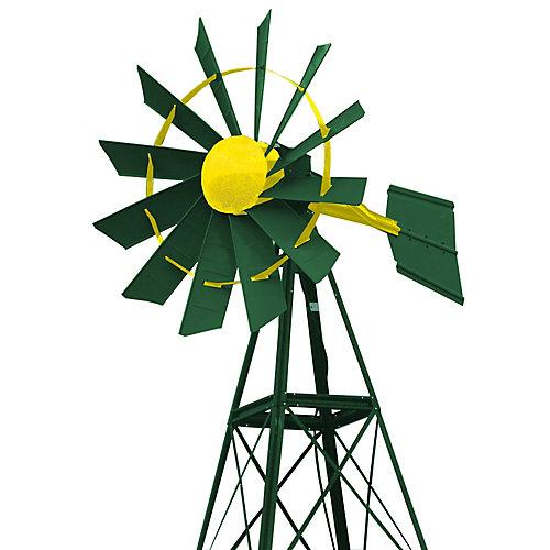 Eolienne recouverte en poudre verte et jaune – 20 pieds