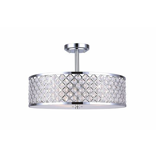 Luciana 18-inch 3-Light 100W Chrome Semi-Flushmount Ceiling Light with Crystal Jewels