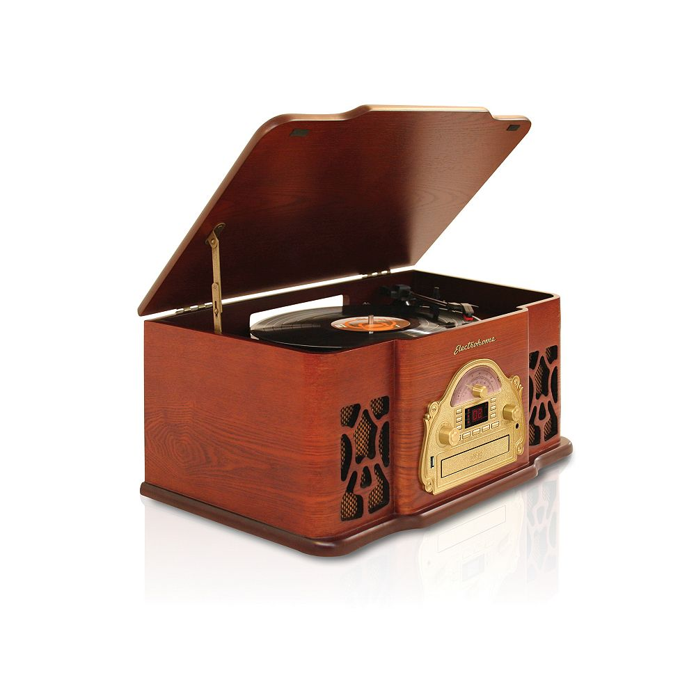 Electrohome Retro Turntable Real Wood Stereo System with Record Player, USB Recording, CD & AM/FM