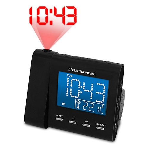 Radio-réveil  SelfSet à projection avec double alarme, température, et pile de secours