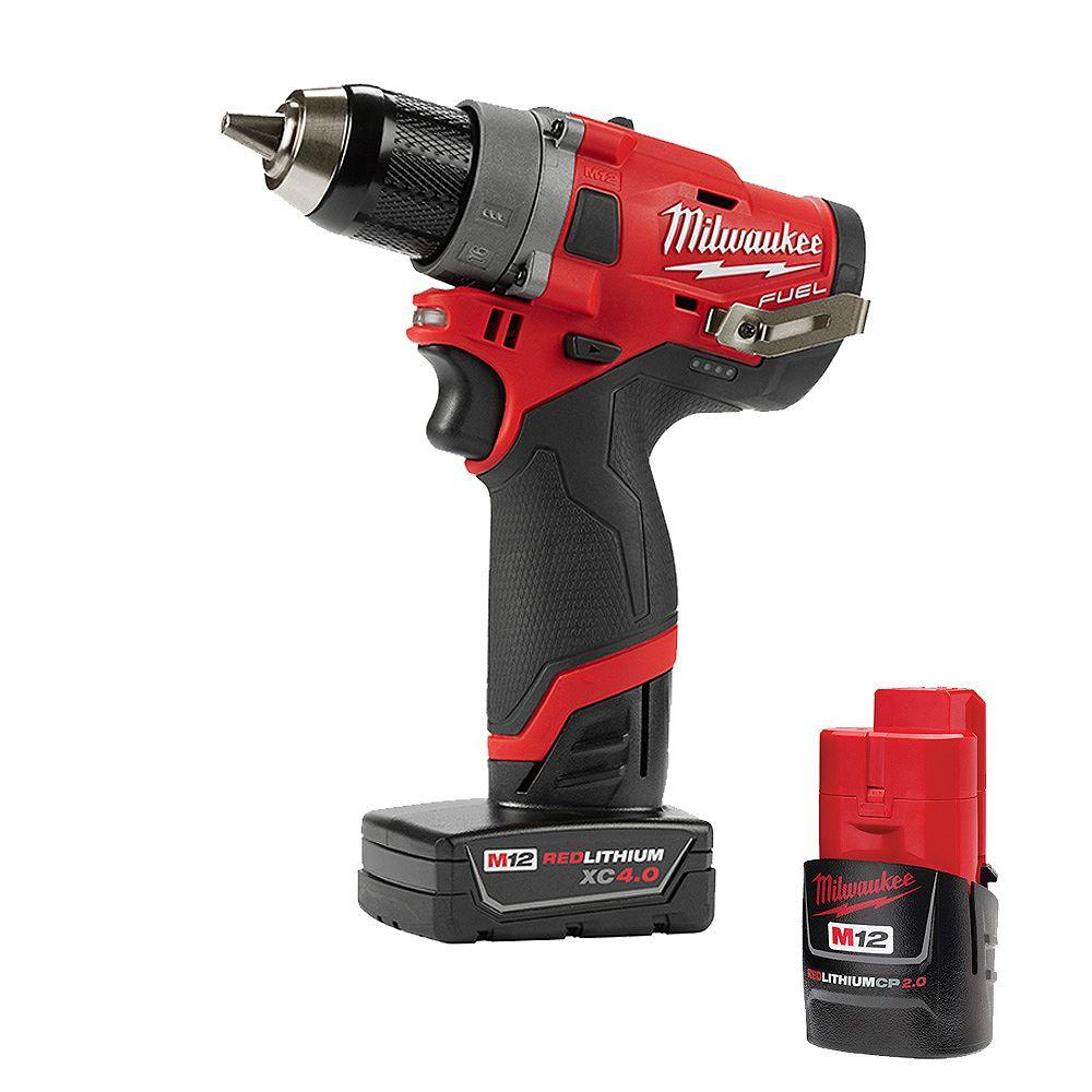 Milwaukee Tool Perceuse-visseuse sans fil ni balais au li-ion M12FUEL, 1/2po, 12V; batteries de 4,0 et 2,0Ah