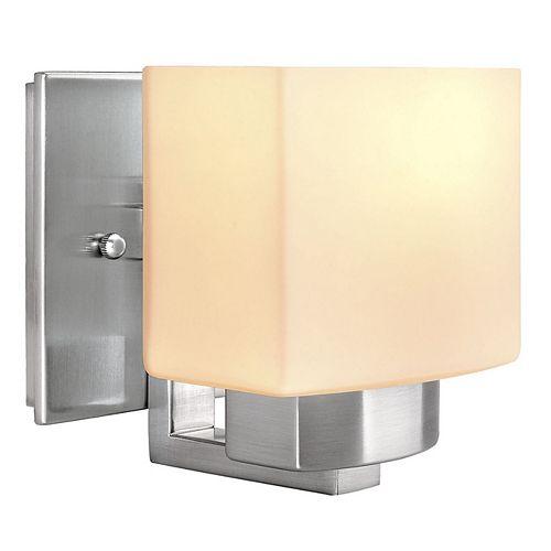 Applique, nickel brossé, une ampoule, diffuseur en verre givré