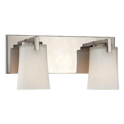 Hampton Bay Applique de salle de bains Wellman, nickel poli, 2ampoules, diffuseurs en verre givré blanc