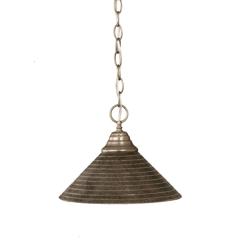 Filament Design Concord 1-Light Ceiling Brushed Nickel Pendant with a Charcoal Spiral Glass