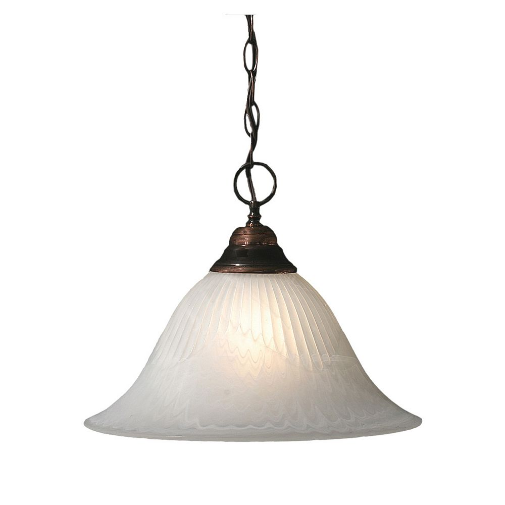 Filament Design Concord 1-Light Ceiling Black Copper Pendant with an Alabaster Glass