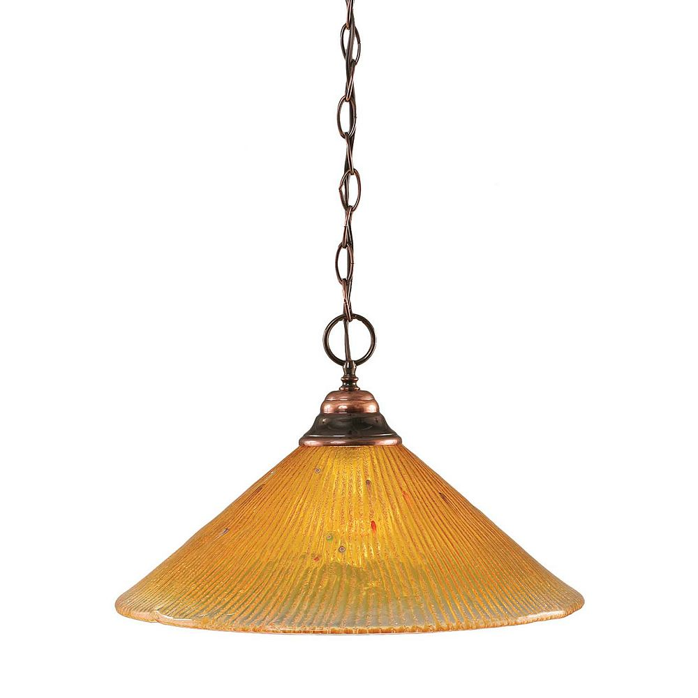 Filament Design Concord 1-Light Ceiling Black Copper Pendant with a Gold Crystal Glass