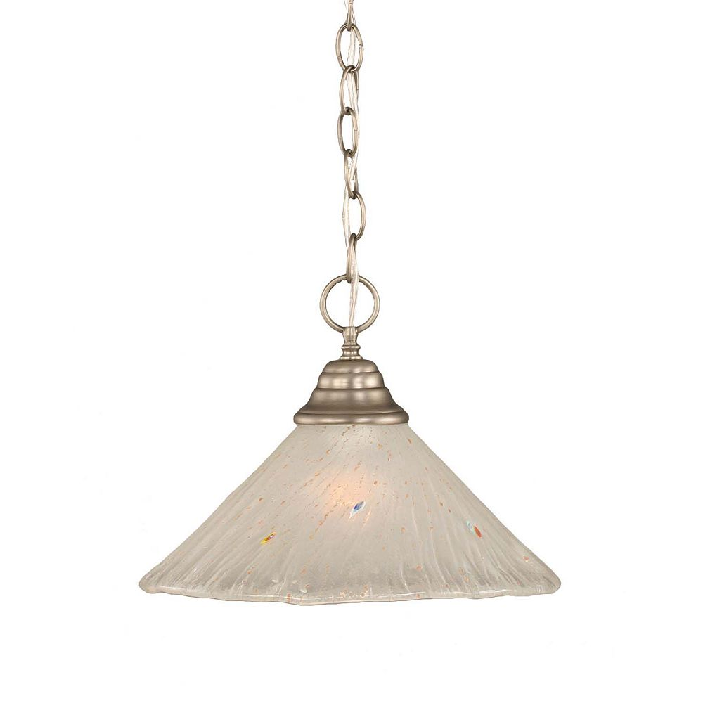 Filament Design Concord 1-Light Ceiling Brushed Nickel Pendant with a Frosted Crystal Glass