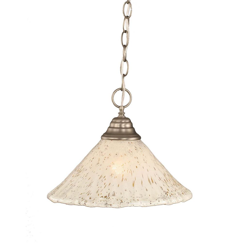 Filament Design Concord 1-Light Ceiling Brushed Nickel Pendant with a Gold Crystal Glass