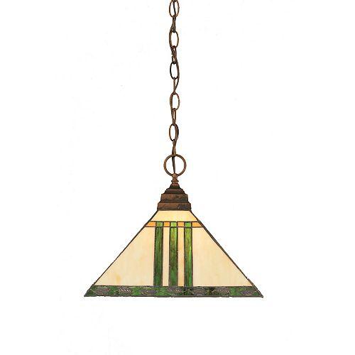 Concord 1 lumière au plafond Bronze Pendeloque à incandescence avec un vert verre selon Tiffany