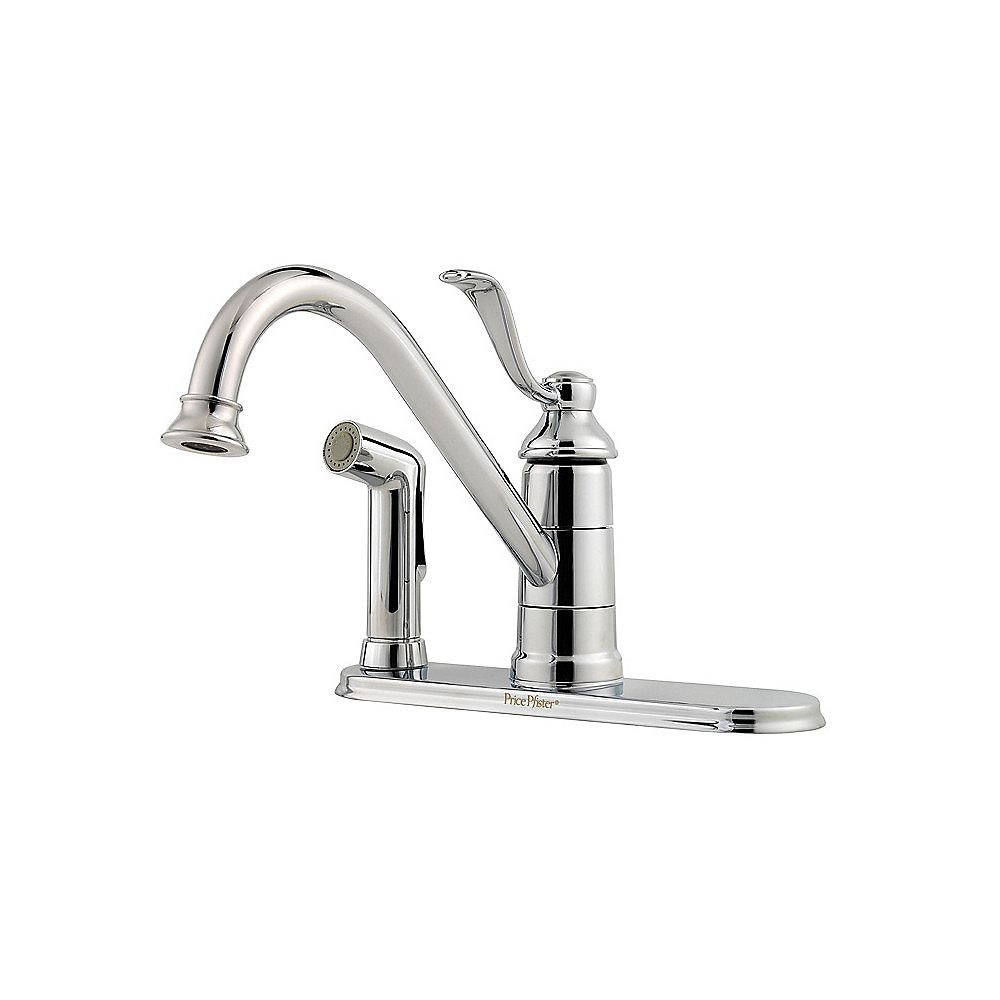 Pfister Portland 1-Handle 3-Hole High-Arc Kitchen Faucet with Side Spray in Polished Chrome