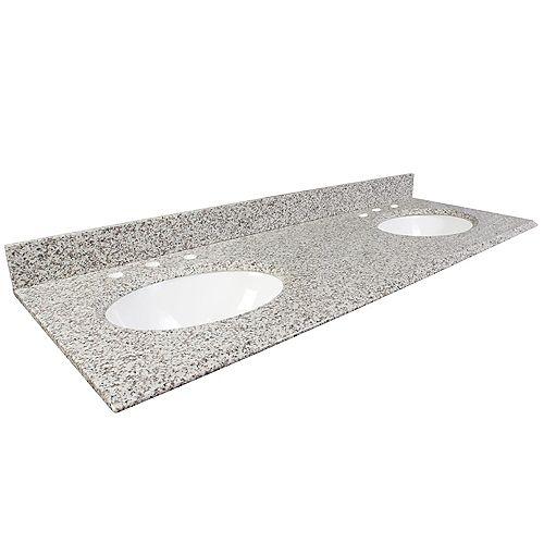 61-Inch W Granite Vanity Top in White Ash