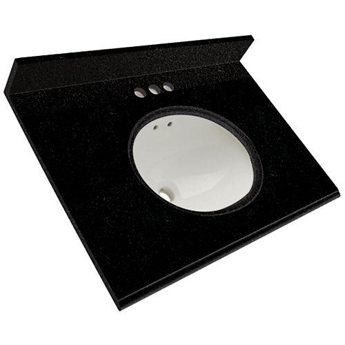 37-Inch W Granite Vanity Top in Tempest Black