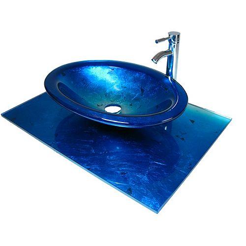 37-Inch W Glass Vanity Top in Ocean Blue