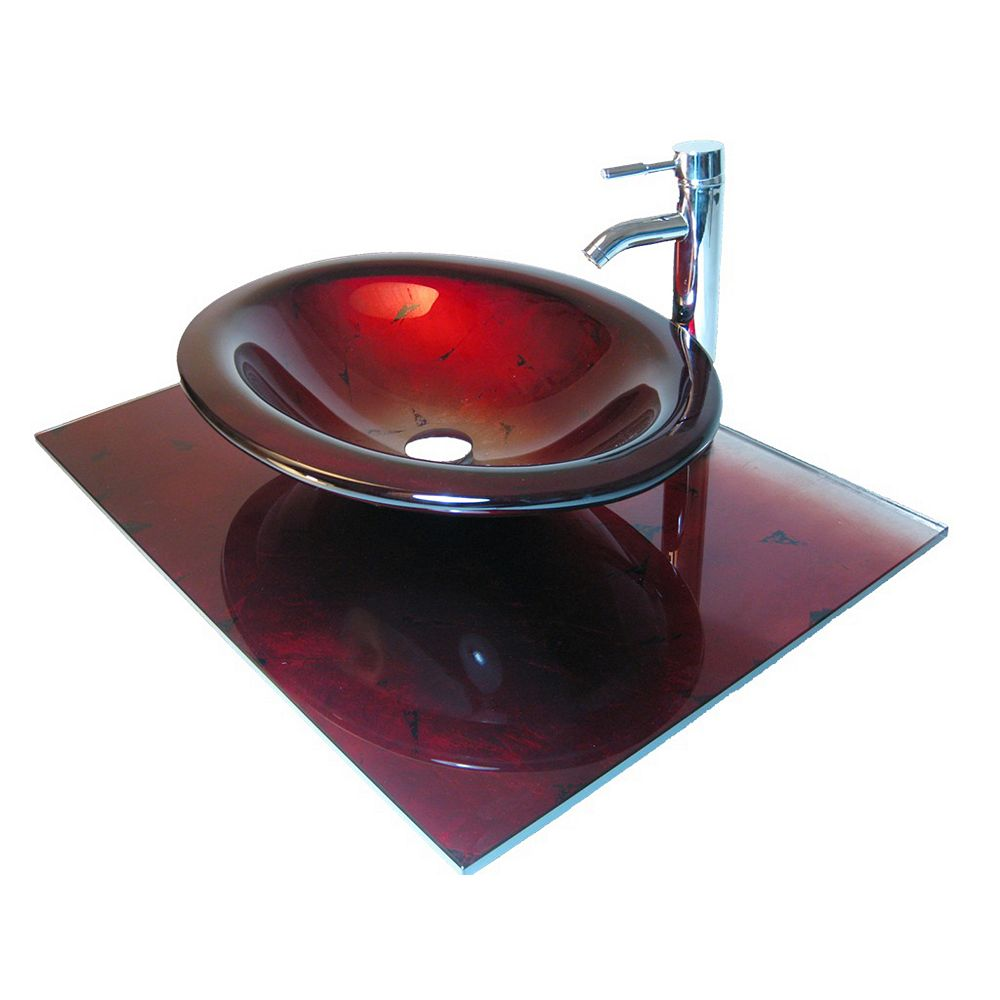 Bionic 37-Inch W Glass Vanity Top in Red Lava