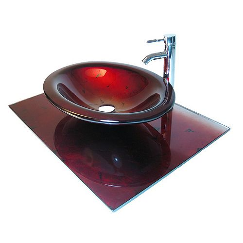 37-Inch W Glass Vanity Top in Red Lava